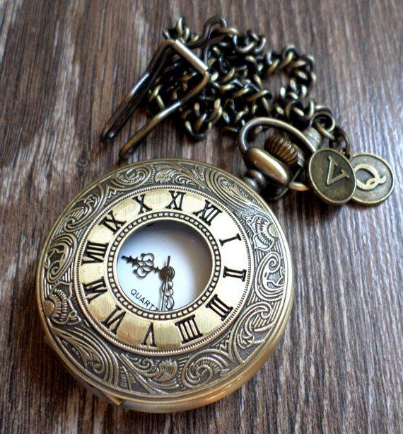 Antique Bronze Quartz Pocket Watch with by PocketwatchEmporium