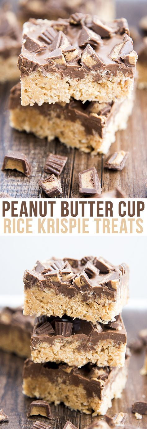 These peanut butter cup rice krispie treats are a perfect easy and delicious treat. With a peanut butter marshmallow krispie treat base, topped with a chocolate peanut butter ganache and chopped peanut butter cups! (recipes with marshmallows easy)