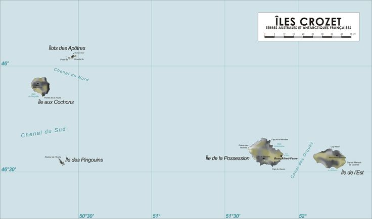 The Crozet Islands (French: Îles Crozet; or, officially, Archipel Crozet) are a sub-antarctic archipelago of small islands in the southern Indian Ocean. They form one of the five administrative districts of the French Southern and Antarctic Lands.
