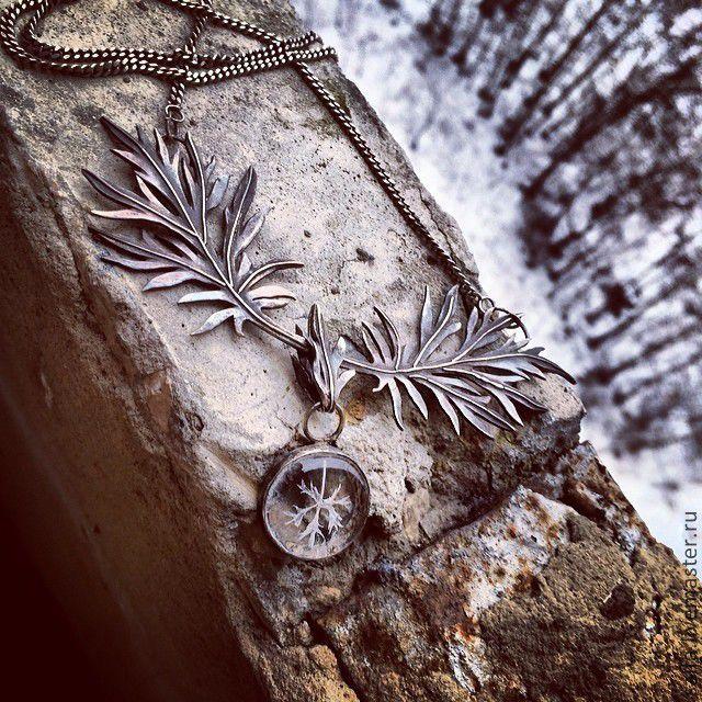 Sagebrush necklace, silver.  Зима - черный, серебро, полынь, колье, зима, лед, лист, растения, растительный орнамент