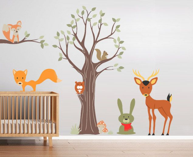 Wandtattoo Kindergarten Kindertattoos - Wald Tiere von wall-decals auf DaWanda.com