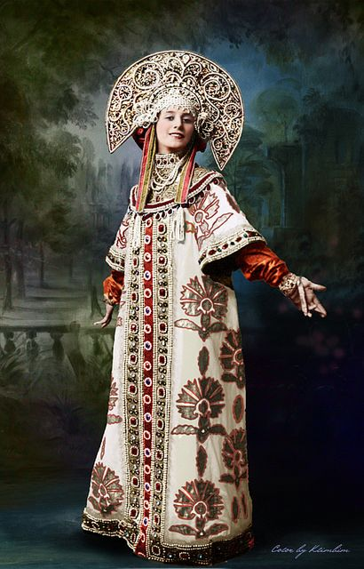 Ballerina Anna Pavlova in her Russian stage costume, 1910 – 1911, digital colourisation of the old photograph.