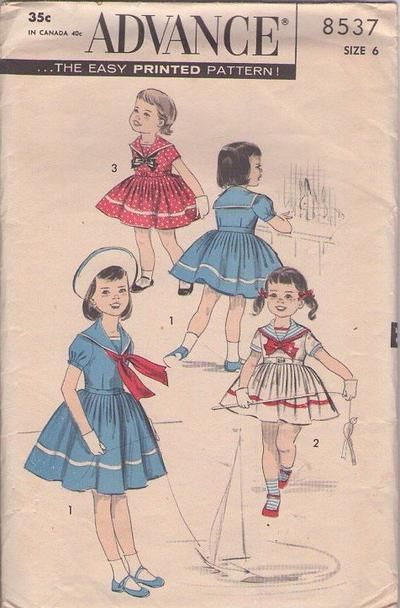 MOMSPatterns Vintage Sewing Patterns - Advance 8537 Vintage 50's Sewing Pattern SWELL Shirley Temple Good Ship Lollipop Nautical Sailor Collar Middy Dress Size 6