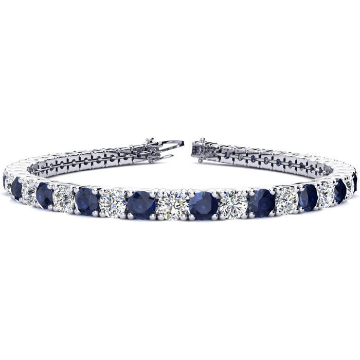 6 5 Inch 10 14 Carat Sapphire And Diamond Tennis Bracelet In 14k White Gold Sports Online Shopping Sterling Silver Diamond Bracelets Tennis Bracelet Diamond Mens Diamond Bracelet