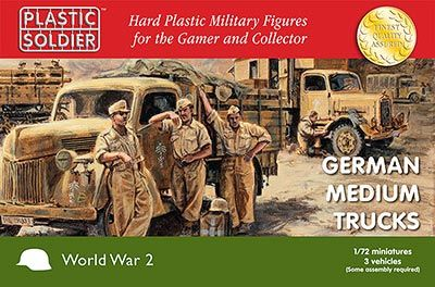 Plastic Soldier Company Ltd - ref. PSC-WW2 V20020 - 7235 WWII German Medium Trucks (3) 1/72nd scale kit