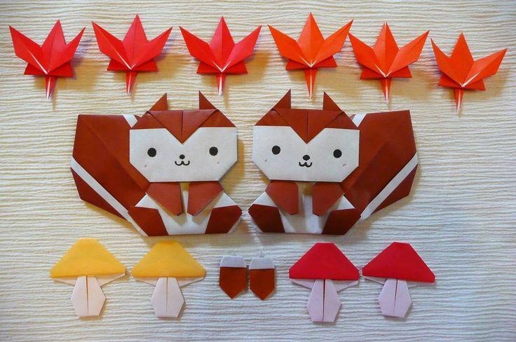折り紙 秋 『 りす どんぐり 紅葉 きのこ 』 壁面飾り 壁飾り インテリア_画像2