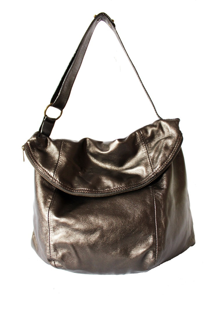 Dark metallic brown leather bag. By Paulina Botero