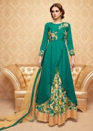 Party Wear Green Banglori Silk Embroidered Work Anarkali Suit