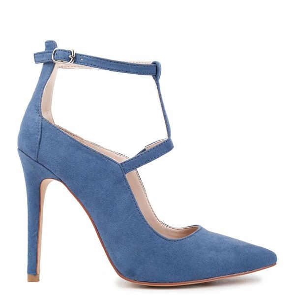 Blue strappy high heel pointy pump with suede texture. Fastens with adjustable ankle strap.