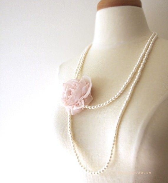 SALE Corsage Pearl Long Necklace pink by miashoebox on Etsy, $21.00