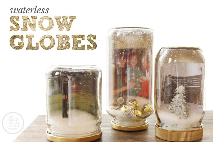 Waterless Snow Globes with Photos DIY, perfect for the Christmas Holiday, via www.thegoldjellybean.com
