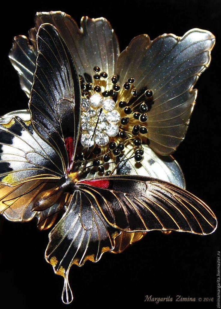 Купить Парусник Ловии. Бабочка. Ювелирное украшение. - комбинированный, комплект, праздничный, торжественный, необычный, уникальный, Exquisite Wire and Resin Kanzashi Flower Hair Jewelry.