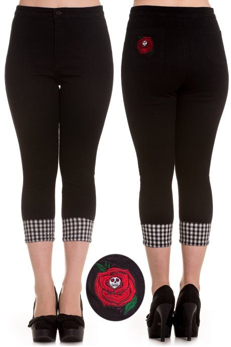 Sarah Rose Caprisby Hell Bunny feature an embroidered red rose with skull centre on the back left pocket. The stretch black denim pedal pushers have black and white gingham turn-ups.