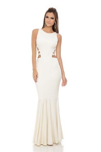 Vestido Longo Recorte Cintura Off White - roupas-festas-vestido-longo-recorte-cintura-off-white Iorane