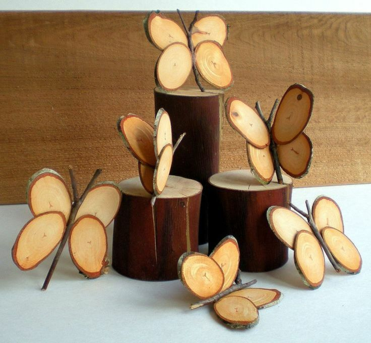 decoration with wood disks butterflies of branches stick decoration idea
