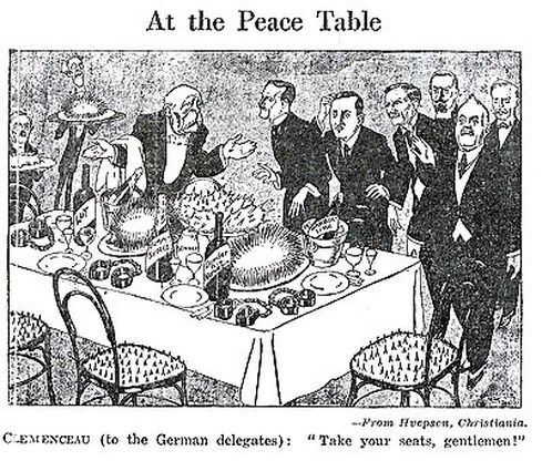 This is a Political cartoon about the Treaty of Versailles, which was signed on June 28, 1919. The food and chairs looks dangerous and there are handcuffs on the table. The German politicians look worried and suspicious because they were threatened by the French military to sign the Treaty. They weren't sure if they were making the right decision.
