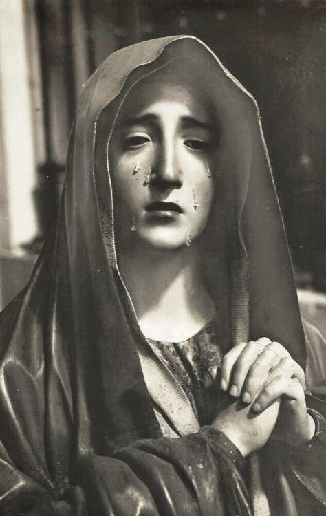 allaboutmary:Virgen de los Dolores? A baroque sculpture of Our Lady of Sorrows in Valladolid, Spain.
