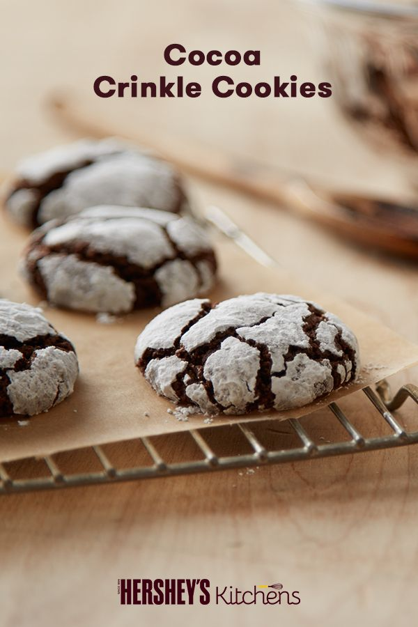 Check out these rich Cocoa Crinkle Cookies! This easy and delicious recipe can be made with HERSHEY'S Cocoa or HERSHEY'S SPECIAL DARK Cocoa. Once you bite into one of these cookies, the shell melts away leaving you with a gooey chocolatey cookie inside, that is sure to make everyone smile!