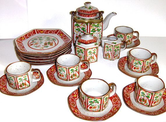 Vintage Asian Tea Set Service for 6 Tea Pot by awesomeartglass, $44.99