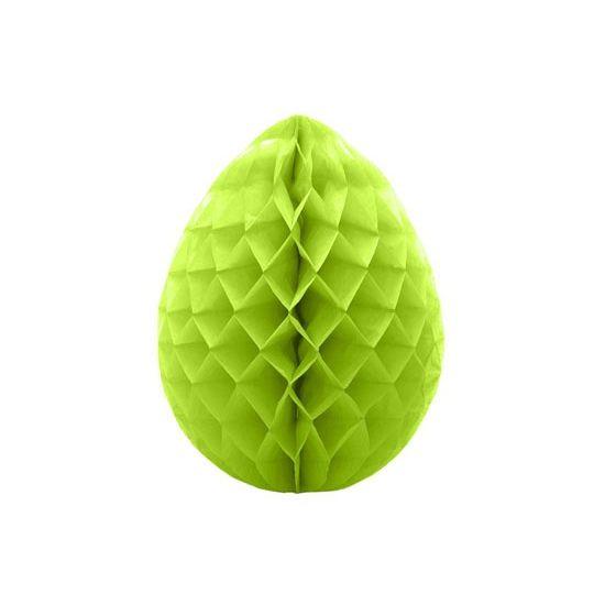 Decoratie paasei groen 30 cm. Groene decoratie paasei van crepepapier om op te hangen. Hoogte: ongeveer 30 cm.