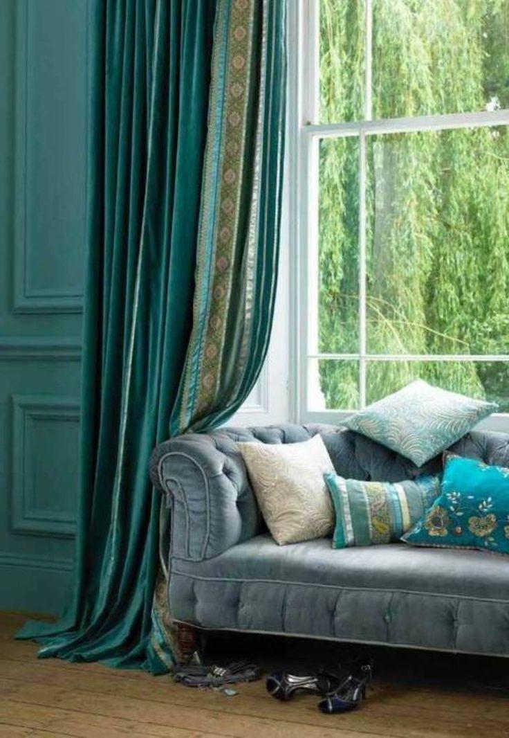rideaux salon tendance 2016 tissu vert ptrole motifs exotiques - Rideaux Salon
