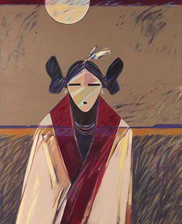 """Tewa Maiden"" (1981), acrylic by Dan Namingha, Tewa/Hopi"