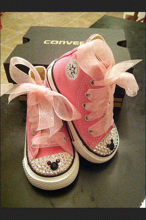 Sheer ribbon Minnie Mouse bling converse chuck Taylor sneakers
