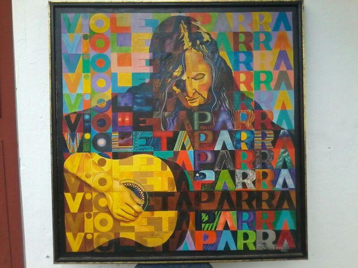 Violeta parra original de Patricio Herrera Torres oleo sobre tela 100x100