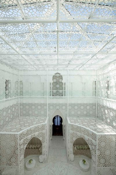 Lacy light at he Royal Mansour, Marrakech. HallSpa 0042A
