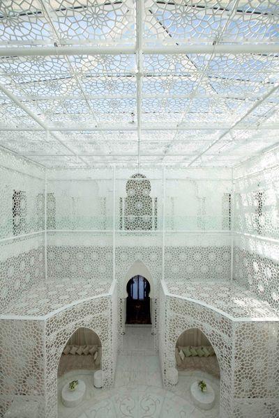 Lacy light at he Royal Mansour, Marrakech. HallSpa 0042A