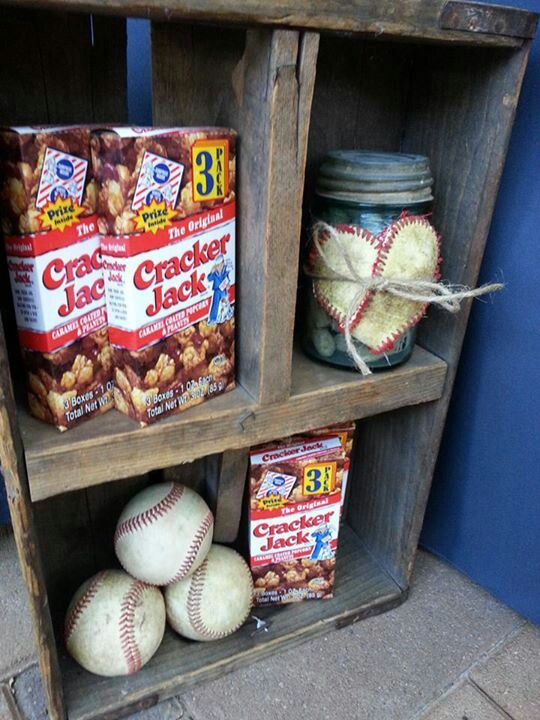 Vintage Baseball Wedding Cracker Jacks and baseballs