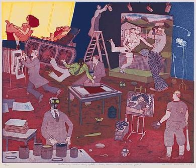 History Of Printmaking Update Leroy Neiman Pulls A Screenprint 1982 Warrington Colescott Born Oakland California 1921 Color Intaglio On Paper Plate 15 X