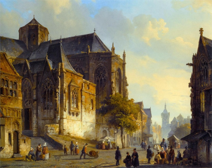 Cornelis Springer, Figures on a Market Square in a Dutch Town, 1843