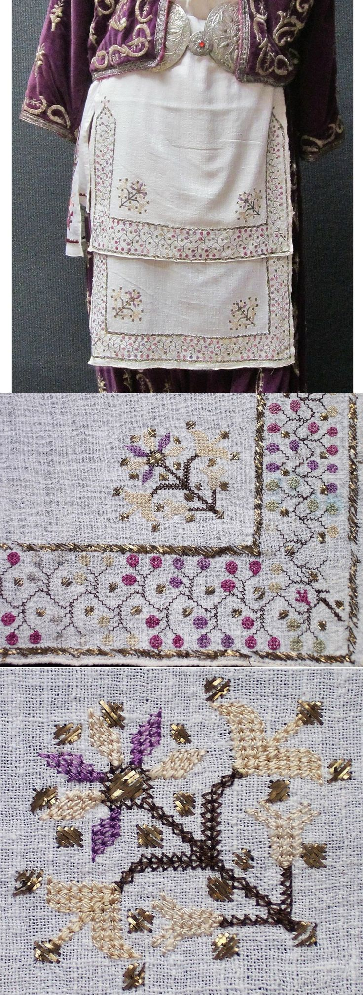 Linen 'makrama' (embroidered napkin); also used in Thrace and northwestern Anatolia as festive 'önlük' (apron) by women. From the Marmara region, 2nd half of 19th century. The 'two-sided' embroidery (identical on both sides of the fabric) is executed in both multi-coloured silk and 'tel kırma' (motives obtained by sticking narrow metallic strips through the fabric and folding them). (Inv.nr. brdw042 - Kavak Costume Collection - Antwerpen/Belgium).
