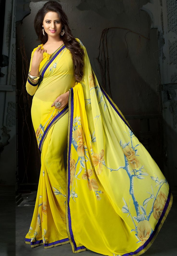 Yellow Faux Georgette Saree with Blouse