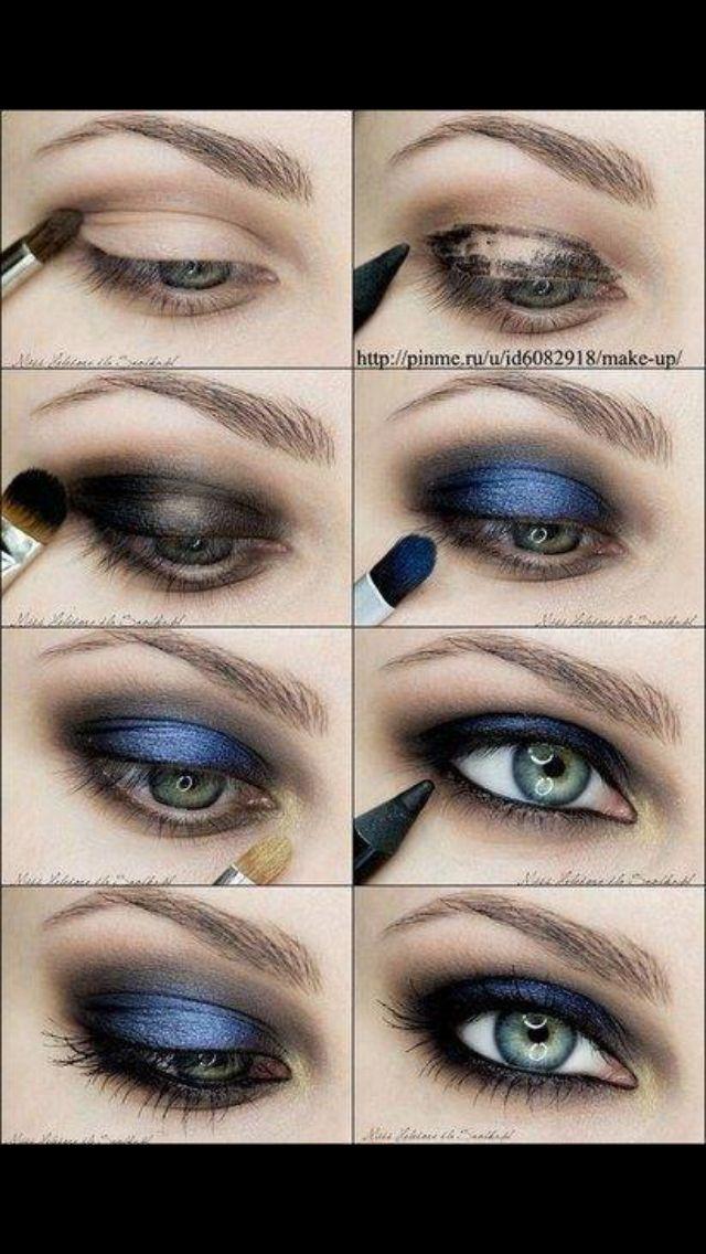 Metallic Blue Smokey Eyes