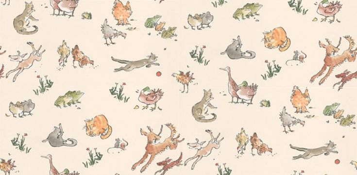 Quentin's Menagerie (W6063/04) - Osborne & Little Wallpapers - Farmyard frolics by Quentin Blake - irresistibly playful dogs bound through cats, chickens, ducks, mice and frogs on a creamy beige background. Additional colourways & co-ordinating fabric also available.  The cutest wallpaper - great for walls and for covering furniture.