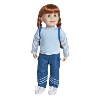 Bluenose Explorer: Jenna is proud to be from Nova Scotia and proud to be called a Bluenose. This outfit includes a blue layered tee-shirt, blue cargo pants and blue striped socks.