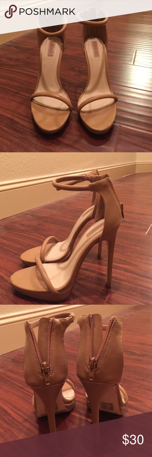 Camel colored strappy heels Worn once or twice still looks brand new!! Super sexy heeels Forever 21 Shoes Heels