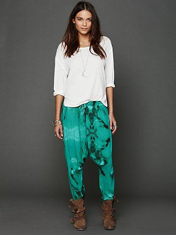 Cute styling idea for slouchy boots...Tie Dye Harem Pants http://www.freepeople.com/whats-new/tie-dye-harem-pants-25766742/