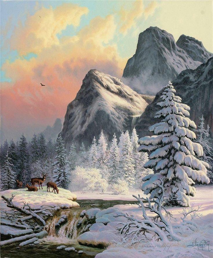 Горный пейзаж рисунки зимой