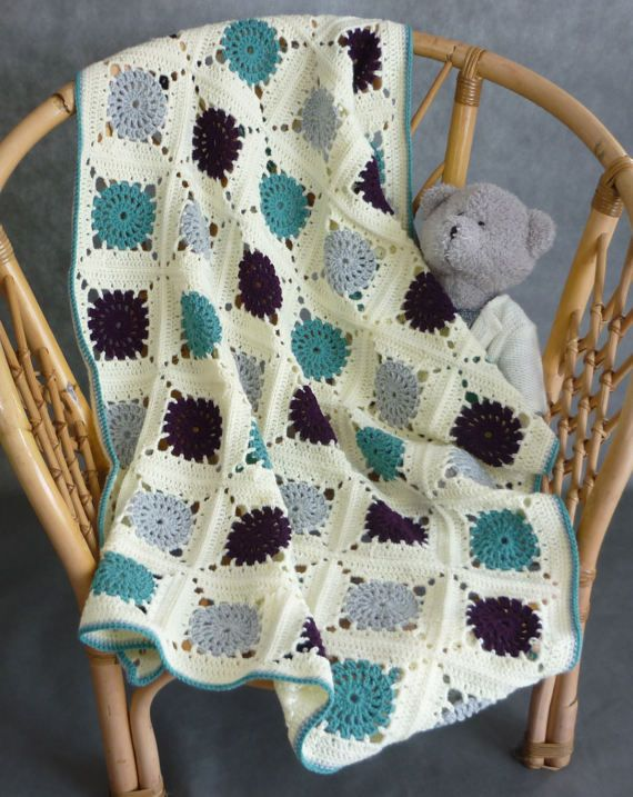 Hand made crochet baby blanket; blanket for the stroller; baby shower blanket; grey blanket; afghan blanket; knit baby blanket; art blanket