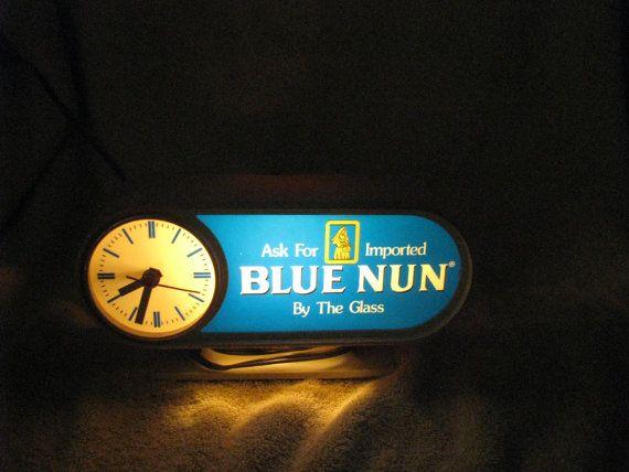 Vintage Blue Nun Wine Clock by MarthazVintageAttic on Etsy
