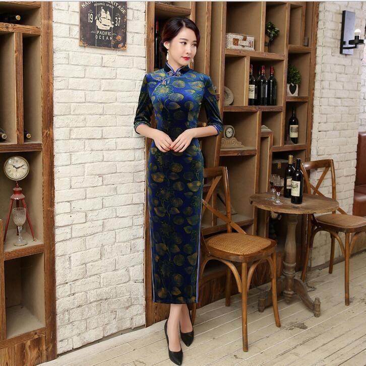 Fashion Chinese Women'S Velour Long Dress Evening Cheongsam Sz: 6 8 10 12 14 16