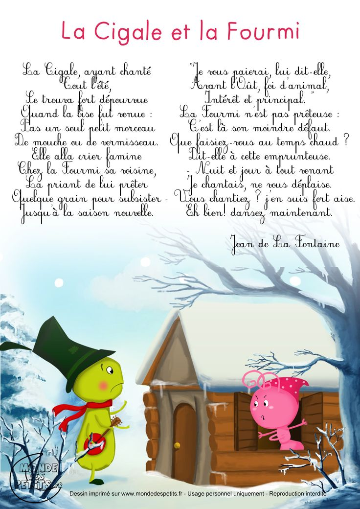 Best 25 poem recitation ideas on pinterest - La cigale et la fourmi a imprimer ...