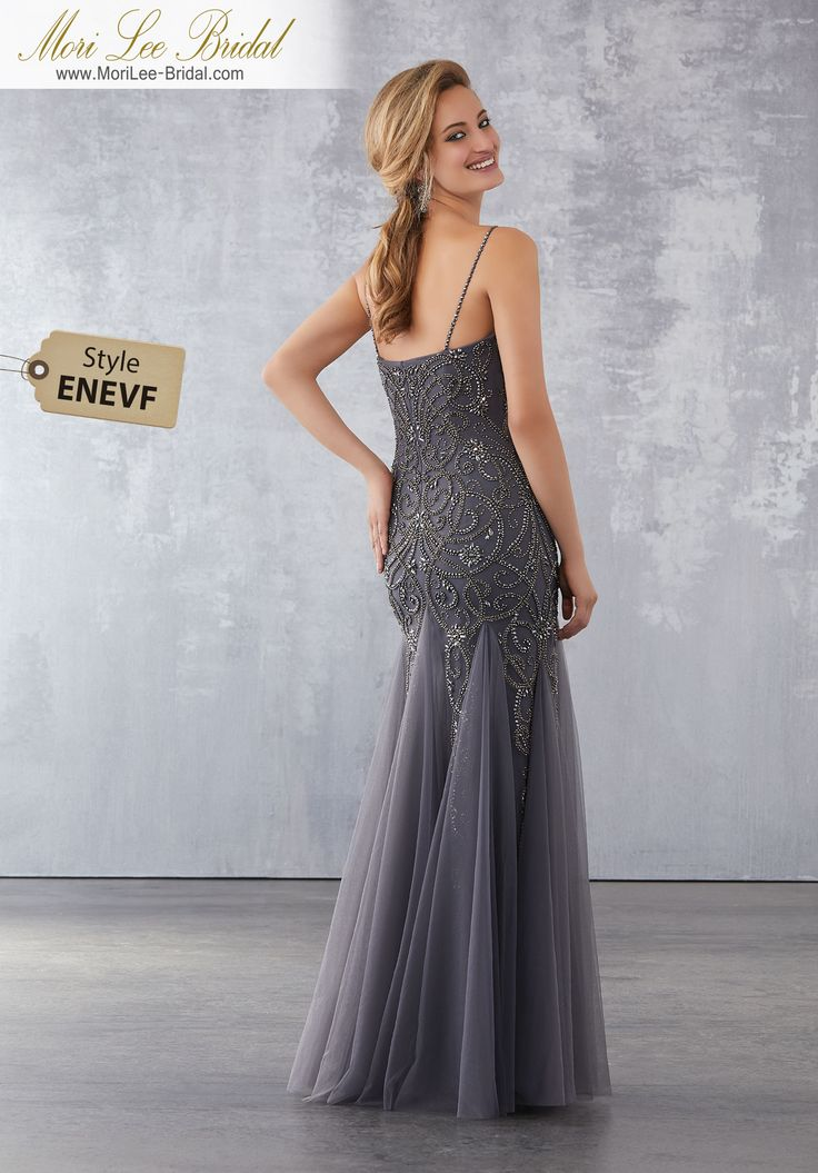 Style ENEVF Soft Net Social Occasion Dress with Gunmetal Beading  Gunmetal Beading on Soft Net. Matching Bolero Jacket. Colors Available: Gunmetal/Charcoal