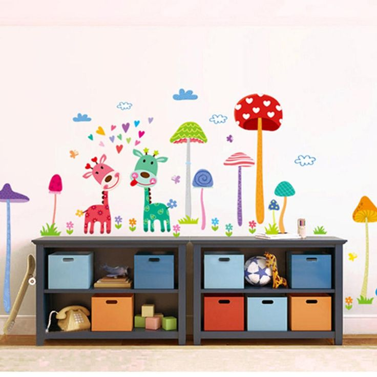 Best Cartoon Mushroom Forest Wall Stickers Removable Vinyl 400 x 300