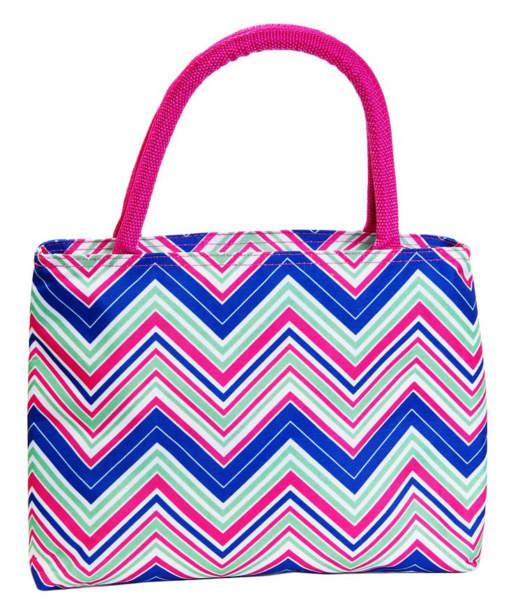 Pink & Blue Chevron Insulated Lunch Tote