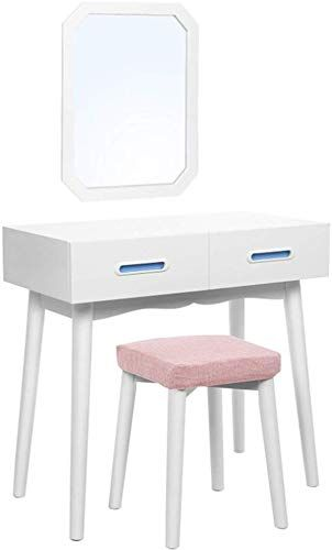 Pair Bed Stools: New DELOVE Luxury White Dressing Table Mirror Stool