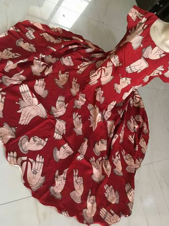Kalamkari silk anarkalis Size L, Xl *Inner crape* no bottom no dupatta Lenth 48 to 49 inches Price:2200